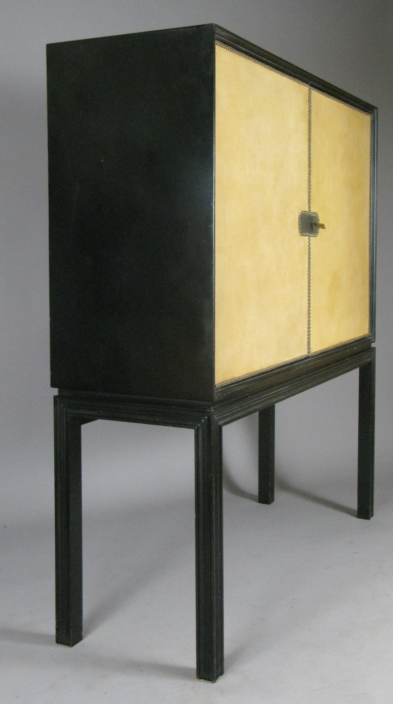 Lacquered 1940's Leather Cabinet by Tommi Parzinger 2