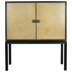 Elegant 1940s Lacquered & Leather Chest by Tommi Parzinger