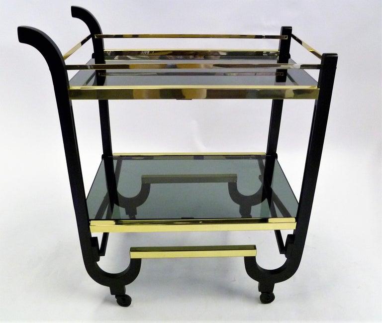 Elegant 1940s Streamline Moderne Bar Tea Cart For Sale 2