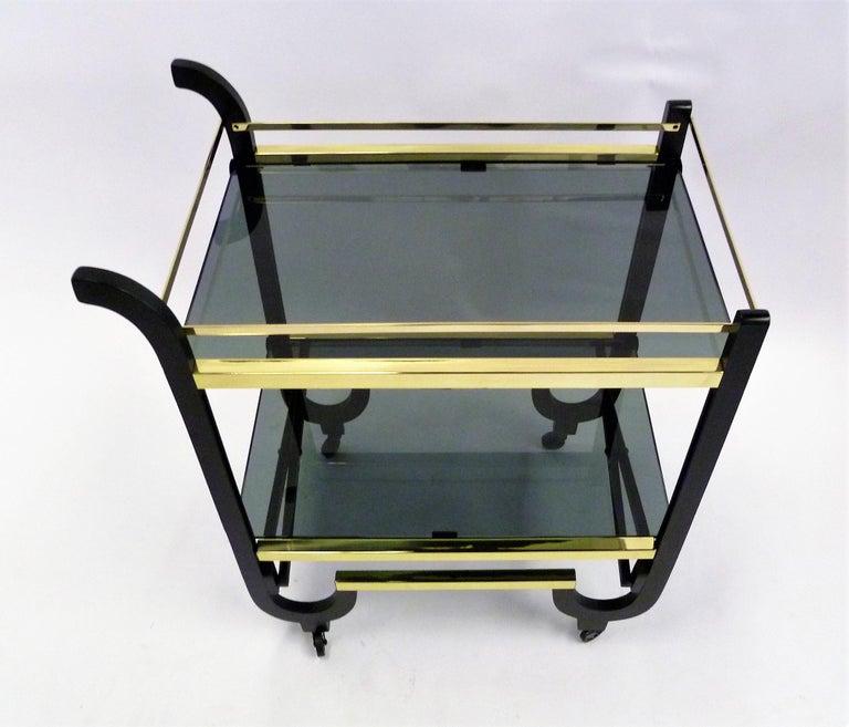 Streamlined Moderne Elegant 1940s Streamline Moderne Bar Tea Cart For Sale