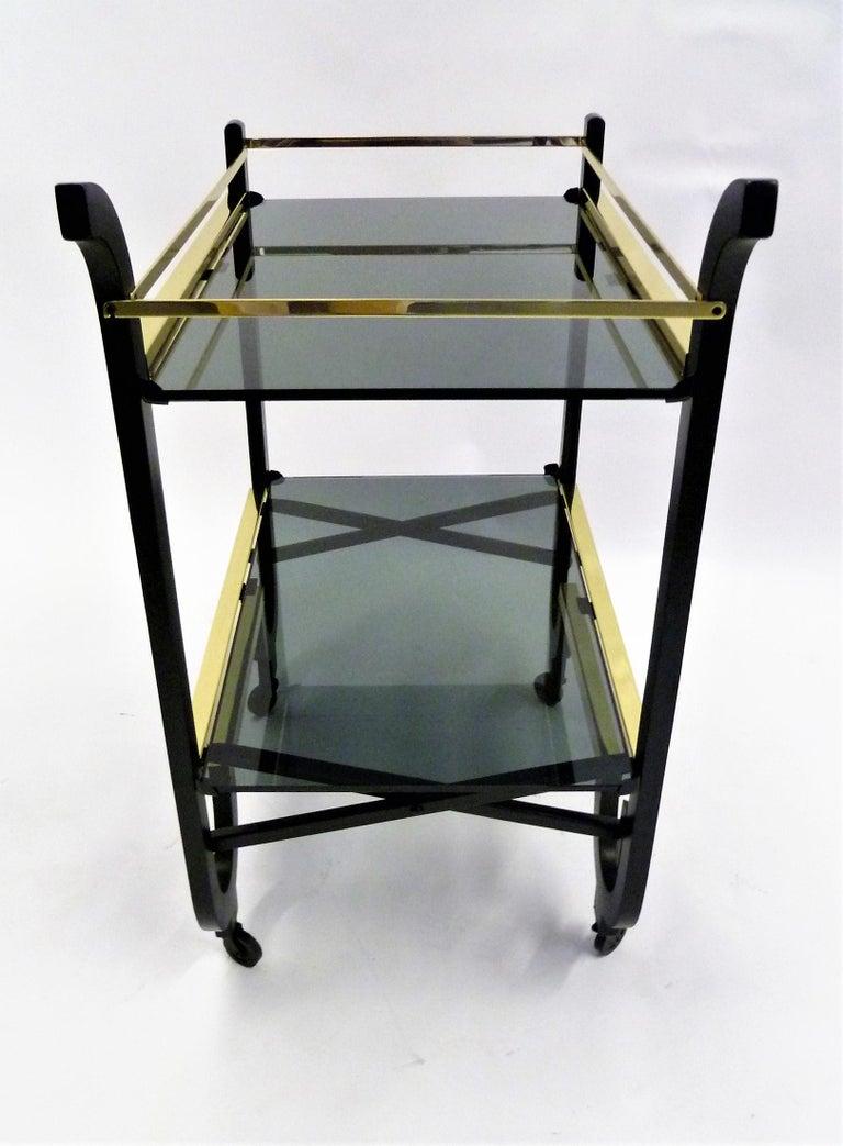 American Elegant 1940s Streamline Moderne Bar Tea Cart For Sale