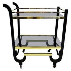 Elegant 1940s Streamline Moderne Bar Tea Cart
