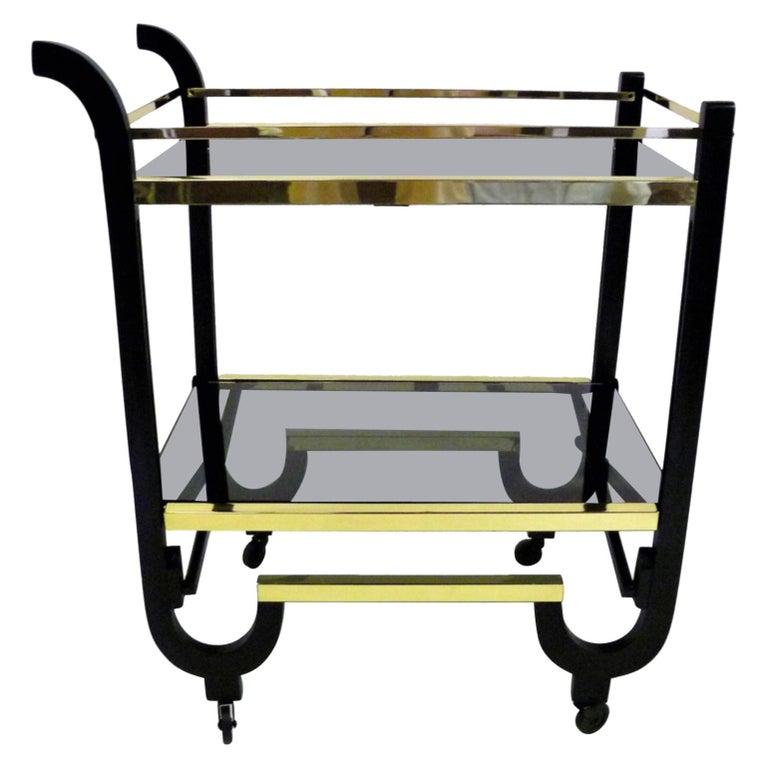 Elegant 1940s Streamline Moderne Bar Tea Cart For Sale