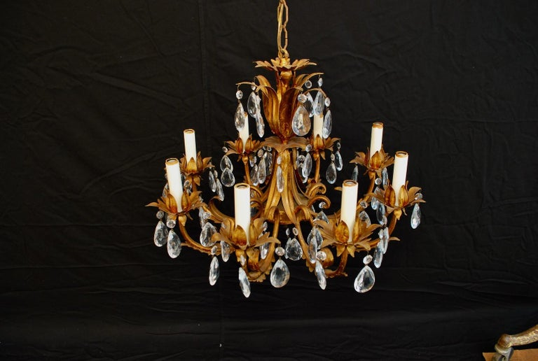 A beautiful Italian crystal chandelier, the patina is much nicer in person.