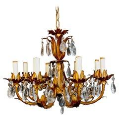 Elegant 1950s Italian Crystals Chandelier