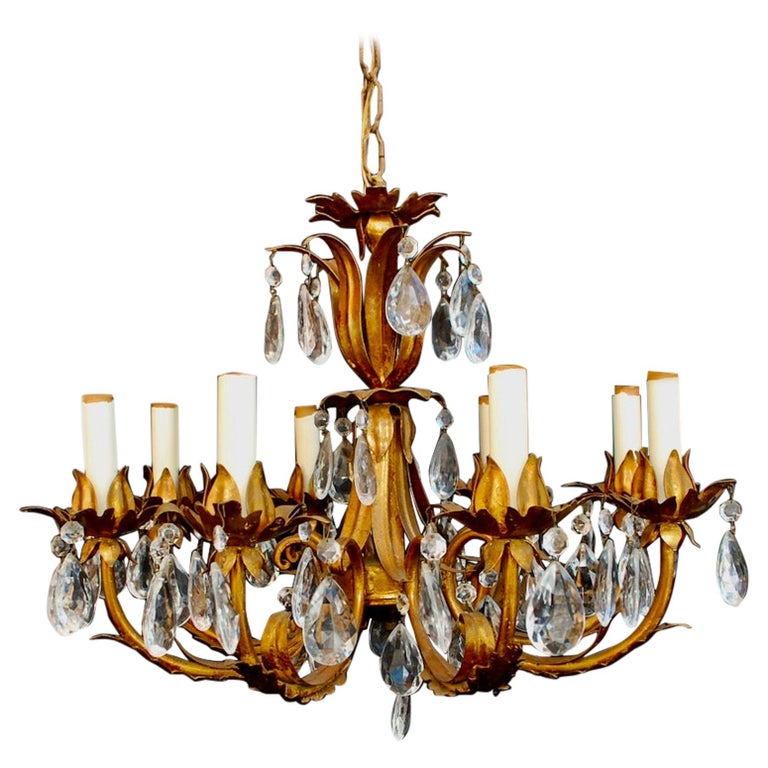 Elegant 1950s Italian Crystals Chandelier For Sale
