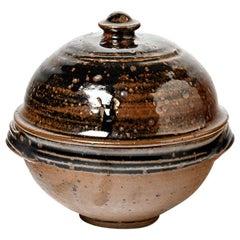 Elegant 1960 Black and Brown Stoneware Ceramic Tureen or Box by Pierre Digan