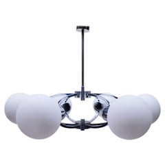 Elegant 1960s Chrome Ceiling Lamp with 6 Opaline Glass Globes