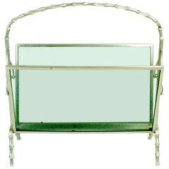 Elegant 1960s Faux Bamboo Silvered Brass Magazine Rack by Maison Baguès France