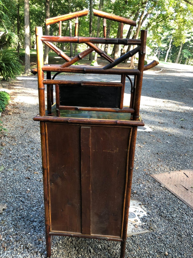 Elegant 19th Century English Bamboo Cabinet In Good Condition For Sale In Hopewell, NJ