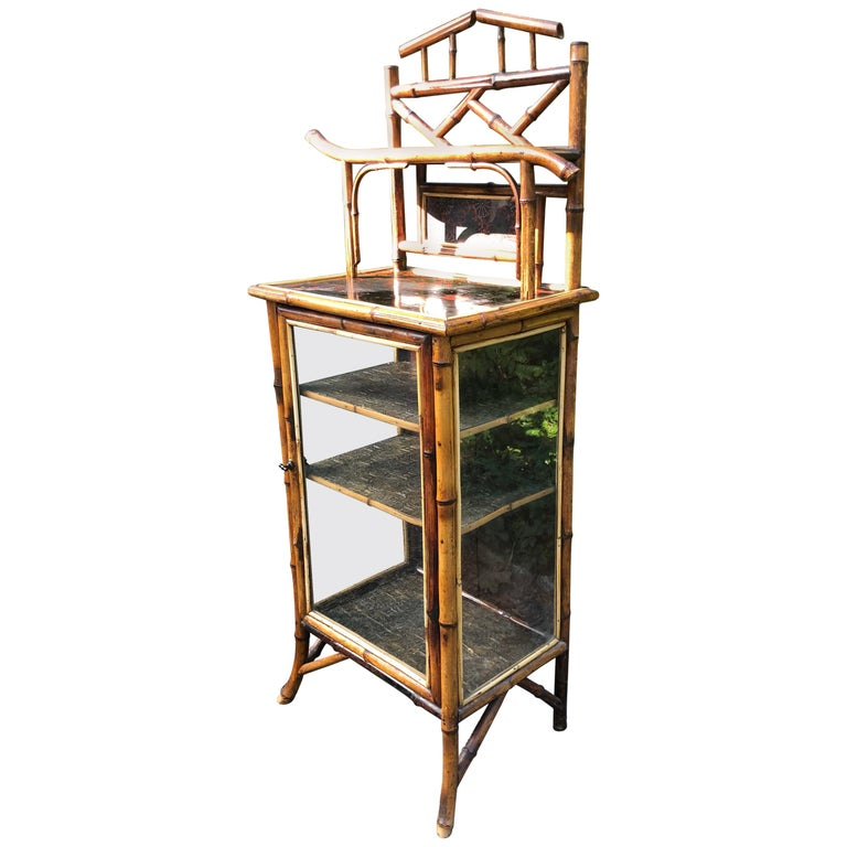 Elegant 19th Century English Bamboo Cabinet For Sale