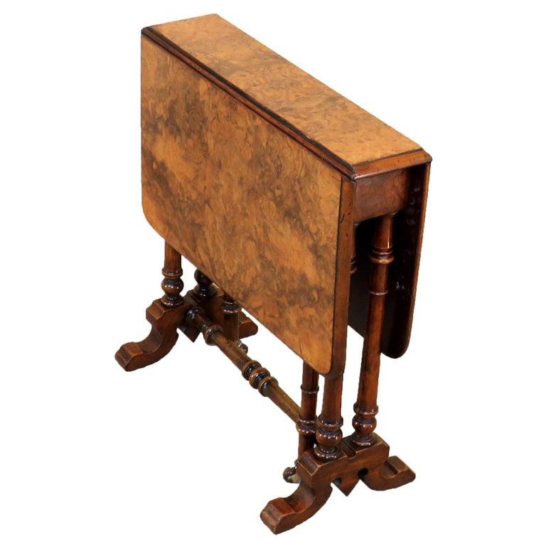 Elegant 19th Century English Burr Walnut Baby Sutherland Table
