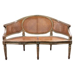 Elegant, 19th Century, French, Caned Settee