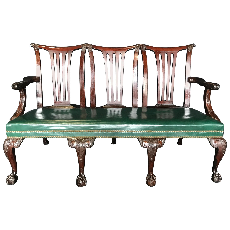 Elegant 19th Century Irish Georgian Mahogany and Leather Sofa Settee