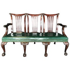 Elegant 19th Century Irish Georgian Mahogany and Leather Sofa Settee