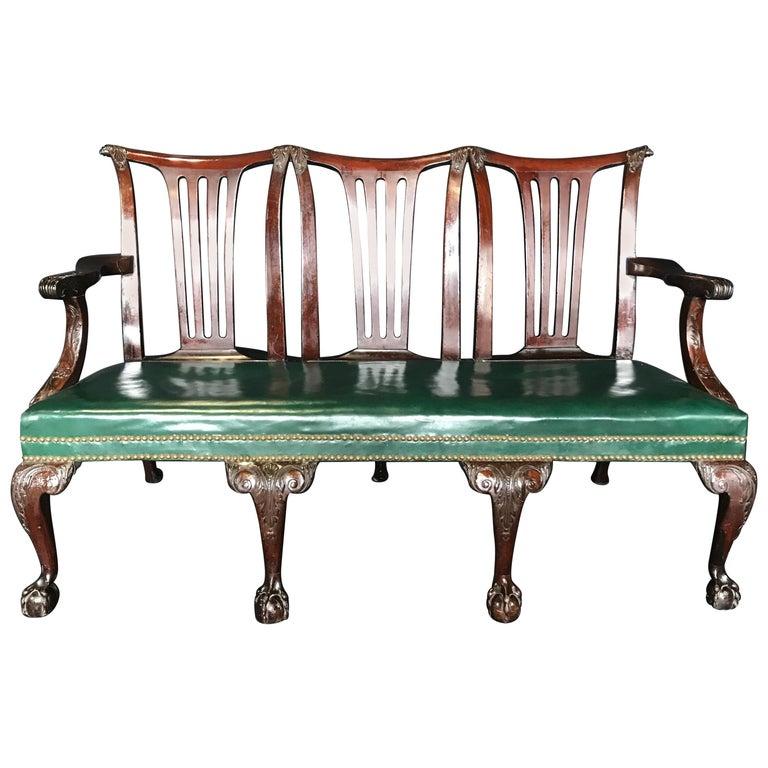 Elegant 19th Century Irish Georgian Mahogany and Leather Sofa Settee For Sale
