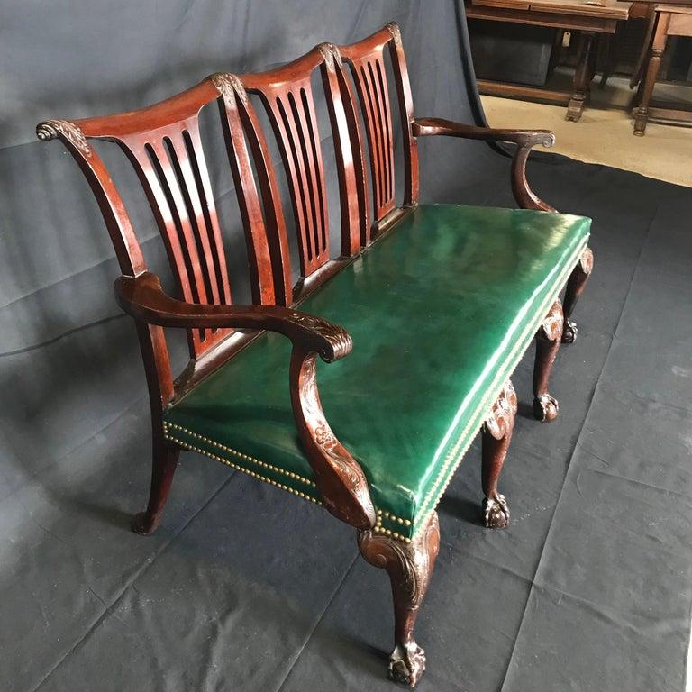 Elegant 19th Century Irish Georgian Mahogany and Leather Sofa Settee For Sale 8
