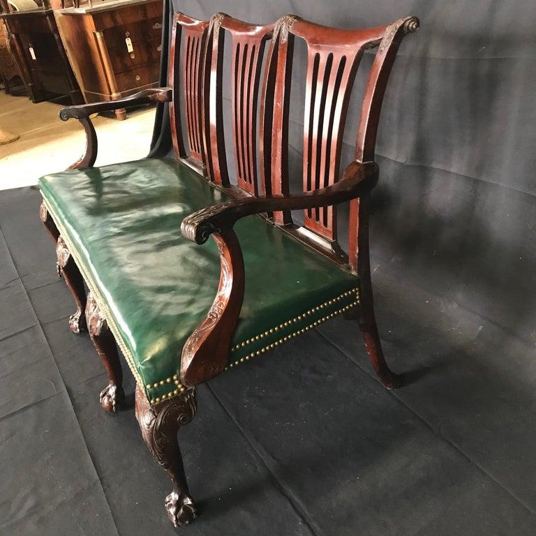 Elegant 19th Century Irish Georgian Mahogany and Leather Sofa Settee For Sale 1