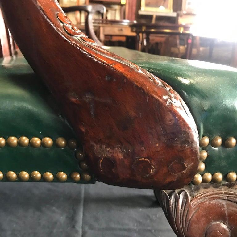 Elegant 19th Century Irish Georgian Mahogany and Leather Sofa Settee For Sale 5