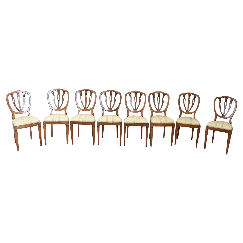 Elegant 19th Century Italian Walnut Antique Dining Room Chairs, Set of Eight