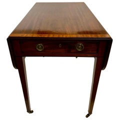 Elegant 19th Century Mahogany and Satinwood Pembroke Drop Leaf Side Table