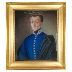 Elegant 19th Century Pastel Portrait of French Officer with Gold Wooden