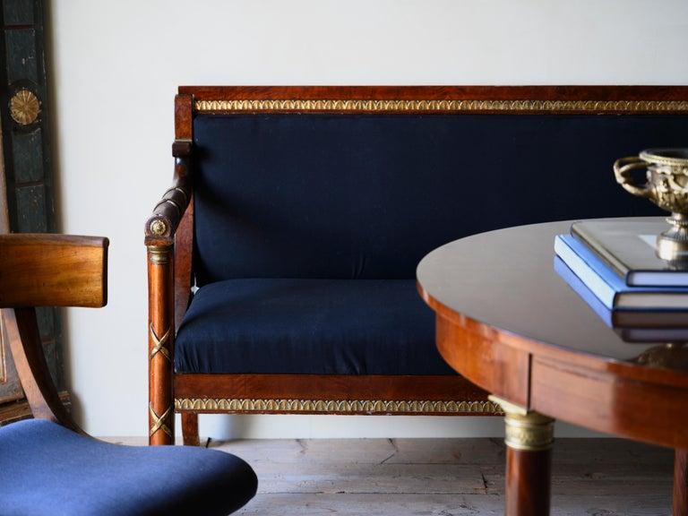 Hand-Crafted Elegant 19th Century Swedish Empire Sofa For Sale