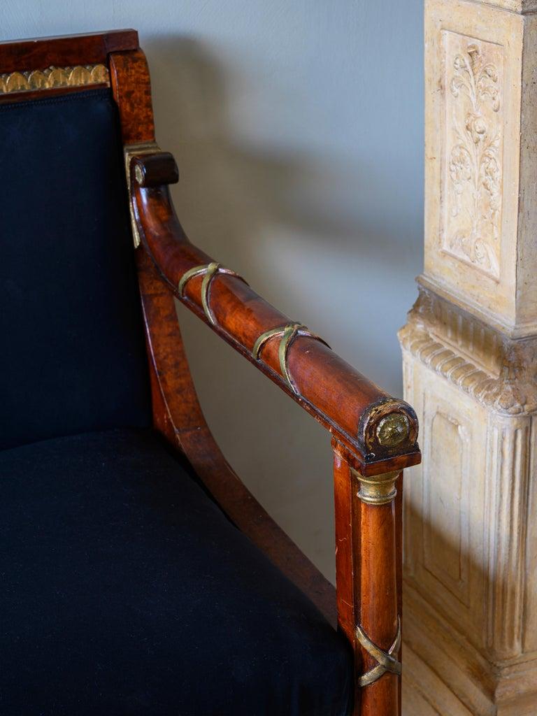 Wood Elegant 19th Century Swedish Empire Sofa For Sale