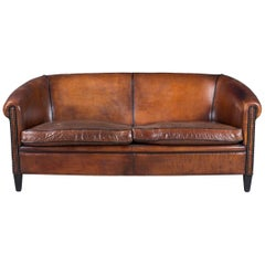 Elegant 20th Century Dutch Sheepskin Leather Sofa, circa 1990