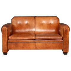 Elegant 20th Century Dutch Two-Seat Tan Leather Sofa