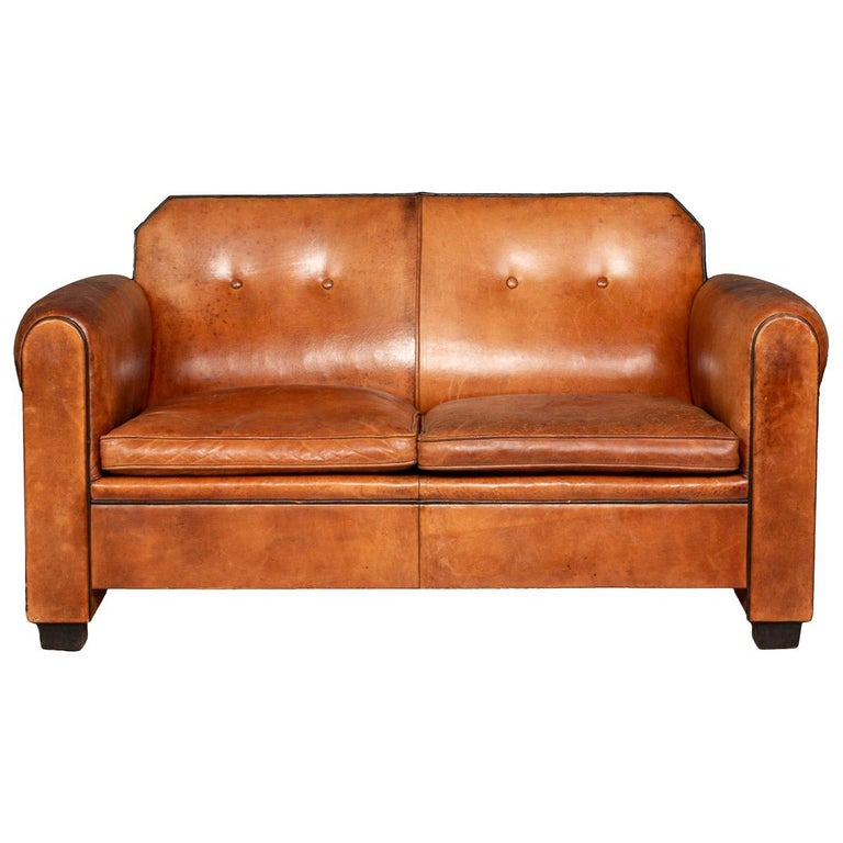 Elegant 20th Century Dutch Two Seat Tan