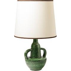 Elegant 20th Midcentury Green Ceramic Table Lamp by Jean Austruy French Art