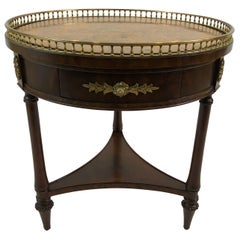 Elegant 3 Drawer Round Side Table with Faux Marble Top