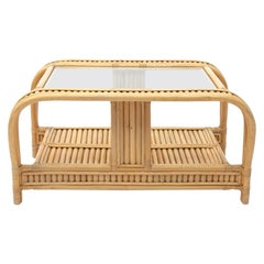 Elegant 3-Strand French Riviera Vintage Bamboo Coffee Table, 1970s