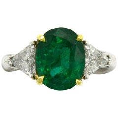 Elegant 4 Carat Emerald Engagement Ring Oval 3-Stone Triangle Diamonds Platinum
