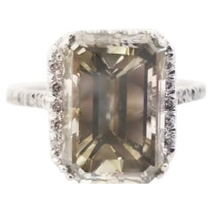 Elegant 5.51 Carat Emerald Cut Fancy Gray Diamond Ring
