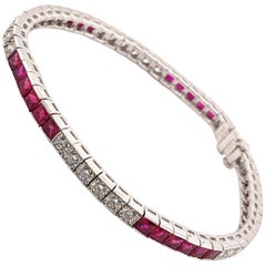 Elegant 6.73 Carat Platinum Ruby and Diamond Bracelet