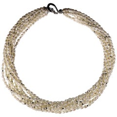 Elegant 9 Strand White Seed Pearl Necklace