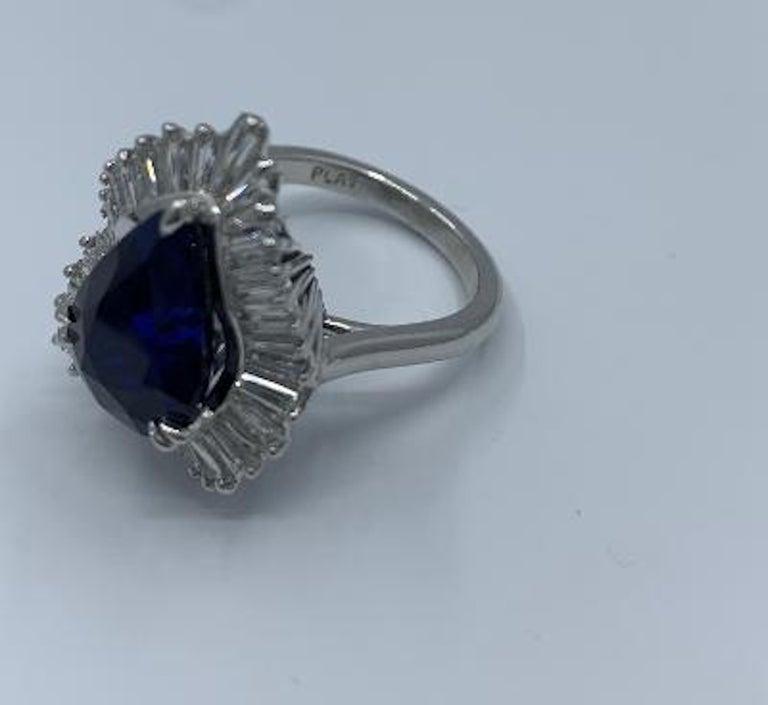 Elegant 9.25 Carat Blue Sapphire and Diamond Baguette Ballerina Platinum Ring For Sale 5