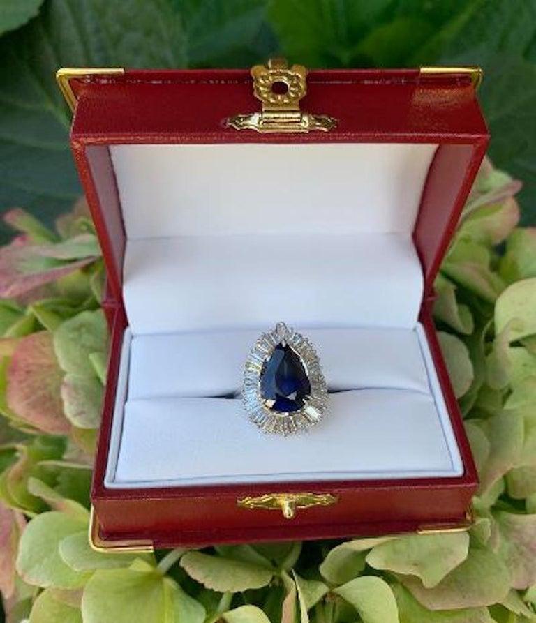 Women's Elegant 9.25 Carat Blue Sapphire and Diamond Baguette Ballerina Platinum Ring For Sale