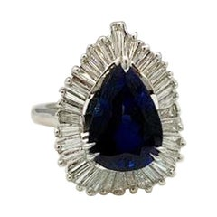 Elegant 9.25 Carat Blue Sapphire and Diamond Baguette Ballerina Platinum Ring