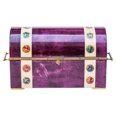 Elegant Aldo Tura Purple Goatskin Jewelry Treasure Box
