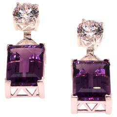 Gemjunky Elegant Amethyst and Cambodian Zircon Earrings February Birthstone