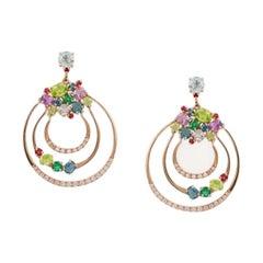 Elegant Amethyst Chrysolite Topaz Zirconia Yellow Gold Designer Earrings for Her