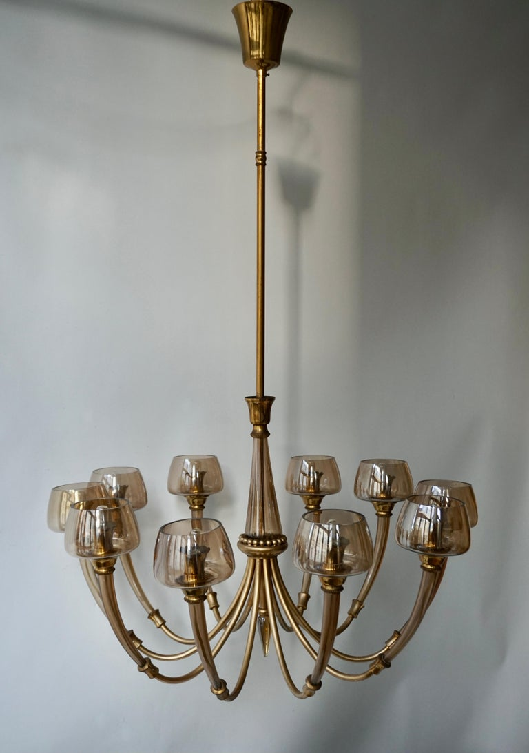 20th Century Elegant Murano Glass and Brass Chandelier For Sale