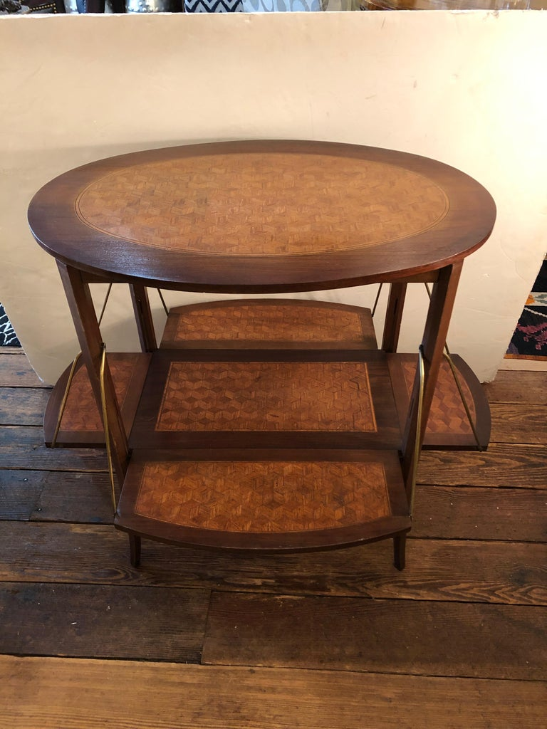 Elegant and Cleverly Designed Oval Two-Tier Marquetry Tea Side Table For Sale 8