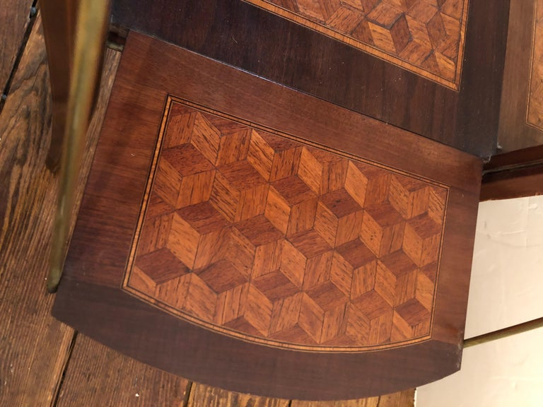 Elegant and Cleverly Designed Oval Two-Tier Marquetry Tea Side Table For Sale 9