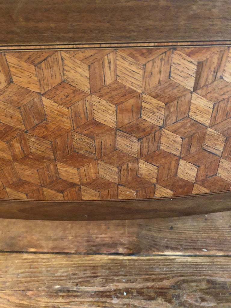 Elegant and Cleverly Designed Oval Two-Tier Marquetry Tea Side Table For Sale 3