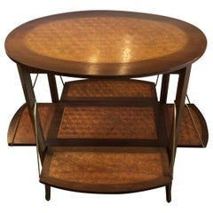 Elegant and Cleverly Designed Oval Two-Tier Marquetry Tea Side Table