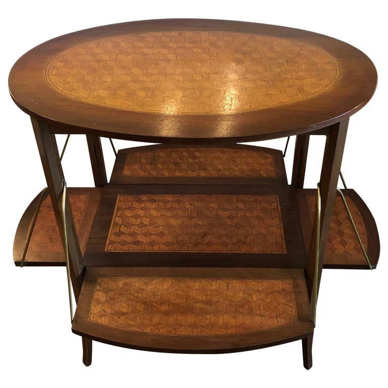 Elegant and Cleverly Designed Oval Two-Tier Marquetry Tea Side Table For Sale